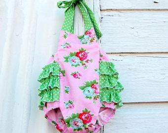 End of Summer Clearance  Ready to ship, Pink Darling Floral Retro Ruffled Baby Girl Sunsuit Romper size 12-18 months