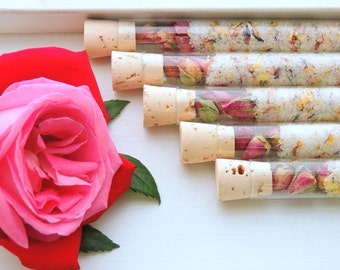 Organic & All Natural Floral Bath Salt Test Tubes. (Bestow Bath Affirmations) Wedding, Mother's Day, Love, Premium, Eco, Spa, Luxury gift