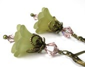 Lucite Flower Earrings, Swarovski Jewelry, Light Olive Green, Pink, Dangle Earrings, Antiqued Brass, Soft and Feminine, Womens Accessories