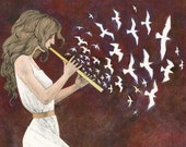 The First Notes. Art print of original painting, ink, watercolor, acrylics, muse, goddess, flute, birds, creation, joy