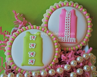 Preppy Lilly Pulitzer Inspired Shift Dress Decorated Sugar Cookies (12)
