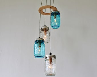 Sea Spray - Mason Jar Chandelier - Upcycled Handcrafted BootsNGus Hanging Lighting Fixture with 4 pint sized Mason Jars in clear and blue