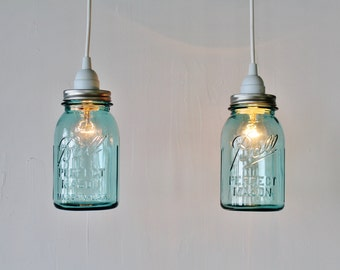 2 Mason Jar Pendant Lights, Pair of Hanging Pendant Lamps With Vintage Aqua Blue Ball Mason Jar Shades, BootsNGus Lighting & Home Decor