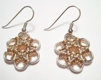 Japanese Daisy Chainmaille Earrings