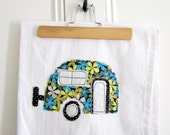 Tea Towel Appliqued Caravan Design - 100% Cotton