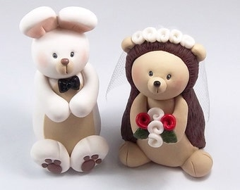 Wedding Cake Topper, Rabbit, Hedgehog Figurine, Cute Cake Topper