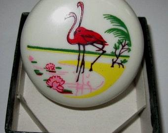 Vintage Bakelite Pill Box / A Pair of Flamingo by Sarsaparilla Deco Design in Cream.