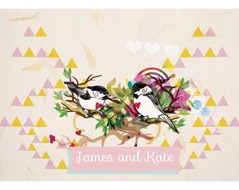 Custom Wedding Love Birds Fine Art Print - Wedding - Anniversary
