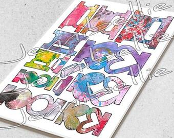 Artful Page Tabs (w Label) Digital Collage Sheet