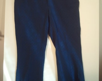 Navy polyester knit pants trousers pant 39 40 bohemian boho grunge 80s 90s bell bottoms disco