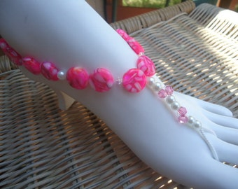 Barefoot sandals beaded anklet beachy foot thong summer sandles hot pink shell tropical swarovski elements