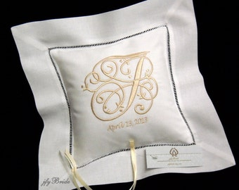 Monogram Linen Wedding Pillow, Embroidered White Ring Bearer Pillow, Wedding Ring Pillow, Custom Irish Linen Ring Cushion, Style 5202