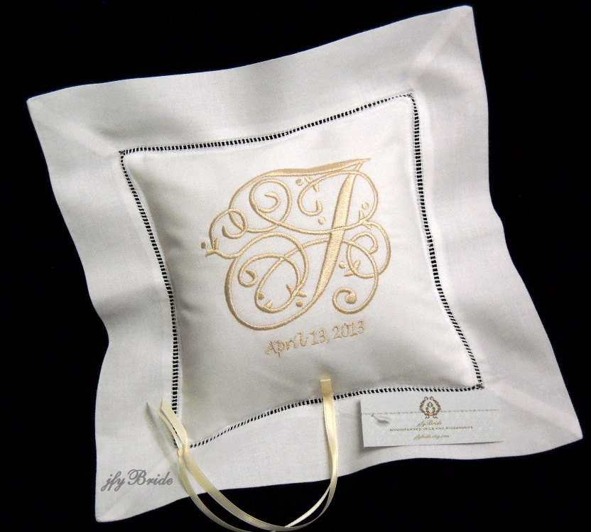 Monogram Wedding Ring Bearer Pillow: Monogram Linen Wedding Pillow Embroidered White Ring Bearer
