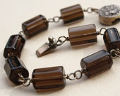 Reserved for Pam - Smokey Quartz Square Barrels and Sterling Silver Bracelet