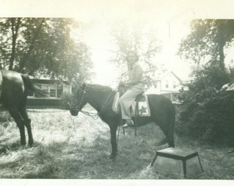 Friends Horseback Riding On Summer Vacation Women 40s 50s Western Dude Ranch   Black White Vintage Photo Photograph