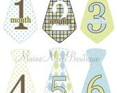 Baby Boy Tie Monthly Milestone Stickers Month Photo Sticker Brown Green Blue Argyle Plaid Stripes Necktie UNCUT 1-12 Months GIFT