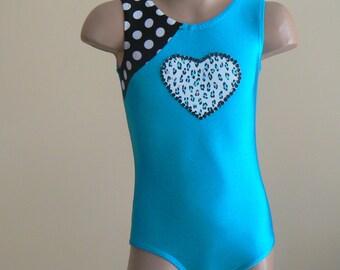Gymnastics Leotard with Heart Applique Size 2T - Girls 10