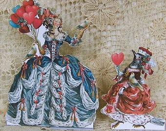 Digital Marie Antoinette Greeting Card INSTANT Download Any Occasion - 4 Sayings - DIY Valentine Get Well Birthday Balloon Lady, Bird CS40M