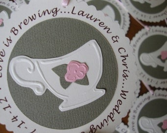 Customized tea party tags set of 12