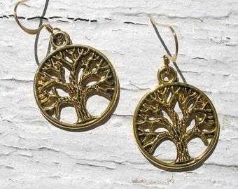 Small Gold CELTIC TREE of LIFE Irish Dangle Earrings-Ireland Earrings