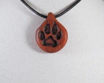Wolf Paw Print Pendant Terra Cotta -Unisex Jewelry