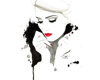 Print from original watercolor and mixed media fashion illustration by Jessica Durrant titled, Don't Forget Me