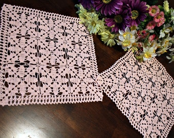 Pink square doilies