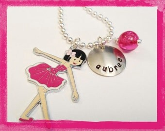 Personalized Necklace - BALLERINA - Hand Stamped Charm Pendant Necklace for Girls #D16