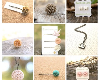 Mystery Grab Bag Assortment of 7  Flower or Charm Necklaces // Single Hairpins // Flower Rings // Flower Earrings