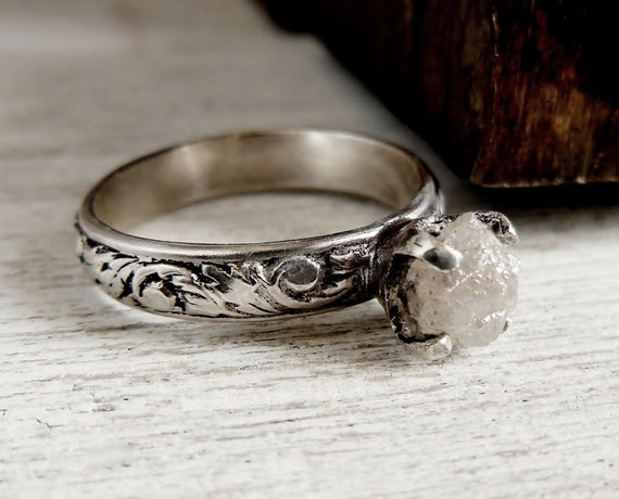 Rough Uncut Diamond Ring Rustic Engagement Ring Sterling Silver