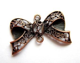 8 Red copper bow jewelry connectors filigree bow charm dangles 17mm x 29mm ZXA213 (SR)