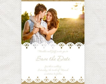 rustic wedding save the date or photo engagement announcement burlap and lace - diy printable file -  country chic, country wedding, barn