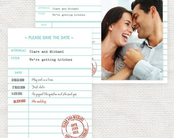 library card save the date or engagement announcement - printable file - photo save the date or classic postcard