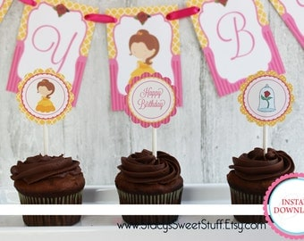 Beauty and the Beast Cupcake Toppers, DIY, Printable, INSTANT DOWNLOAD