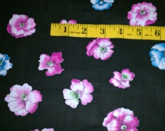 Black with Teal and Pink Violet Like Flowers Cotton Fabric (514E)