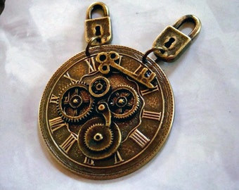 USA Metals, Steampunk Geared Clock Face with Key Necklace Pendant or Completed Necklace, Pad Lock Bails, Original Hand Made Exclusive