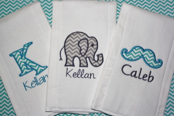 BURP CLOTHS set of 3 PERSONALIZED Flower Mustache Elephant name Monogram Twin Baby Shower Gift