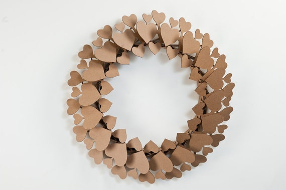Decorative Cardboard Heart Wreath - Brown