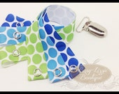Green, Turquoise and Royal Blue Dot Paci Kit, Toy Clips.