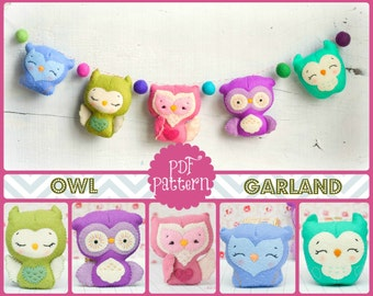 PDF. Owl family garland 2.  Plush Doll Pattern, Softie Pattern, Soft felt Toy Pattern.