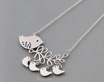 Mother gift Necklace, bird family branch necklace jewelry gift, Mama bird with 5, 4, 3 or 2 baby birds, mom love kids, by B9studio