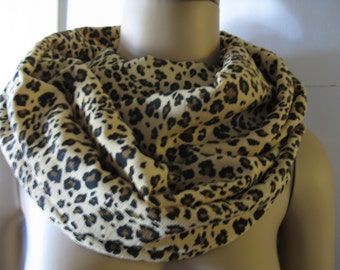 Cheetah Animal Print Infinity Scarf, Loop Scarf, Circle Scarf, Women