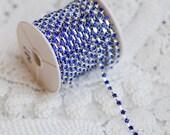 3 Feet Dark Royal Blue Australia Rhinestone Chain Crystal Silver SS8 2.5mm Wedding Cake Decoration Brooch Bouquet Supply RC090