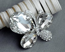Rhinestone Brooch Component Crystal Butterfly Embellishment Wedding Broach Bouquet Cake Hair Comb Cinderella Shoe Clip BR207