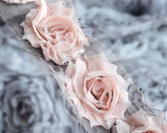 1 Yard Shabby Rose Trim 14 Shabby Flower Shabby Frayed Chiffon Flower Peach Pink Wedding Bridal Hair Accessory Headband LA067