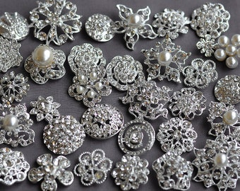 10 pcs Assorted Rhinestone Button Brooch Embellishment Pearl Crystal Button Wedding Brooch Bouquet Cake Hair Comb DIY BT165