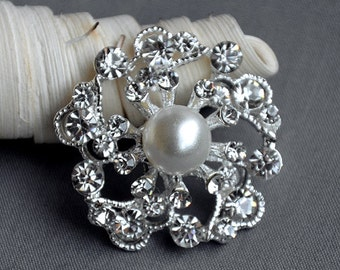 5 Large Rhinestone Button Embellishment Pearl Crystal Wedding Brooch Bouquet Invitation Cake Decoration Hair Comb Clip BT528