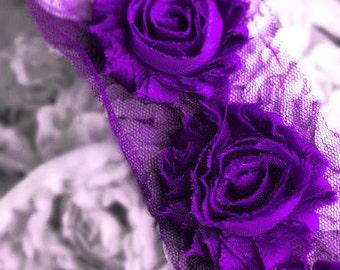 1/2 Yard Shabby Rose Trim Shabby Flower Shabby Frayed Chiffon Flowers Lace Applique Eggplant Dark Purple LA084