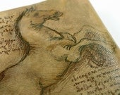 personalized leather journal - custom quote hand painted -  art journal vintage style old paper - Leonardo Da Vinci Horse Sketch