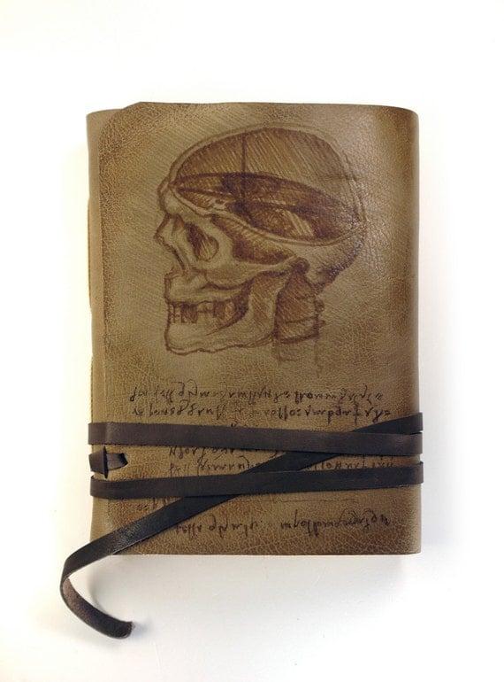 RESERVED FOR KEVIN - Leonardo Da Vinci Sketchbook  - Leather Journal with Vintage Style Old Paper - Hand Painted Art Journal